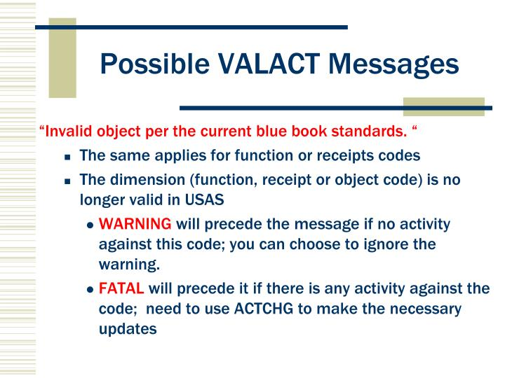 Possible VALACT Messages