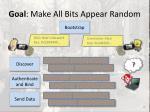 goal make all bits appear random