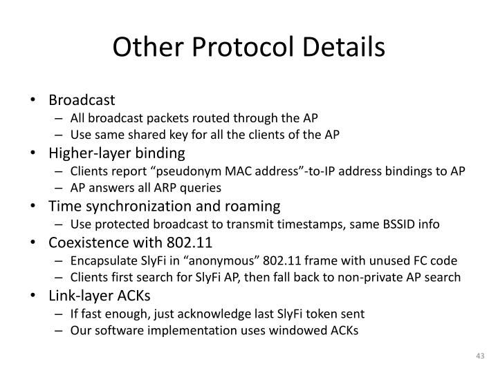 Other Protocol Details