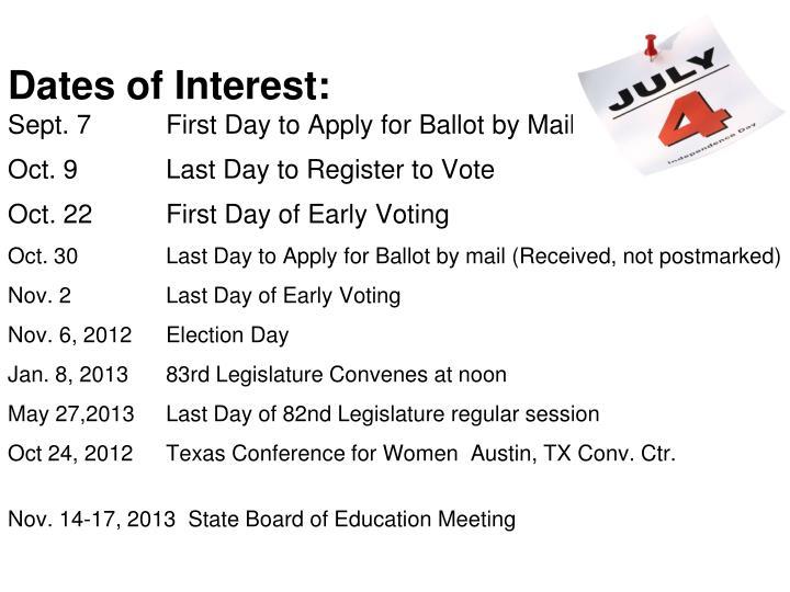 Dates of Interest: