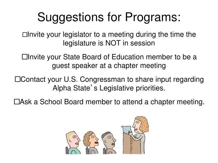 Suggestions for Programs: