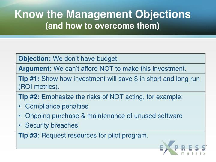 Know the Management Objections