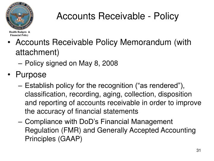 Accounts Receivable - Policy