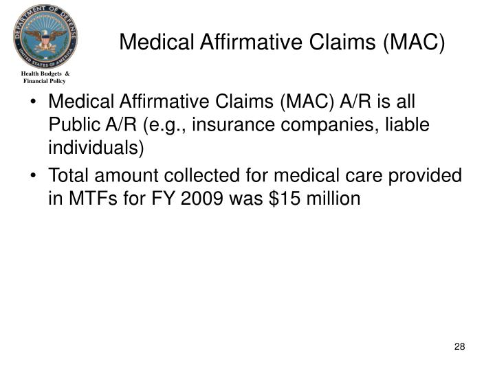 Medical Affirmative Claims (MAC)