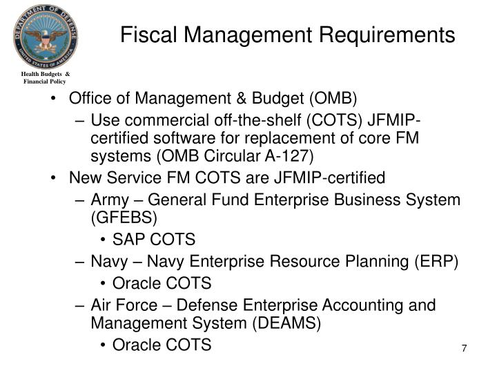Fiscal Management Requirements