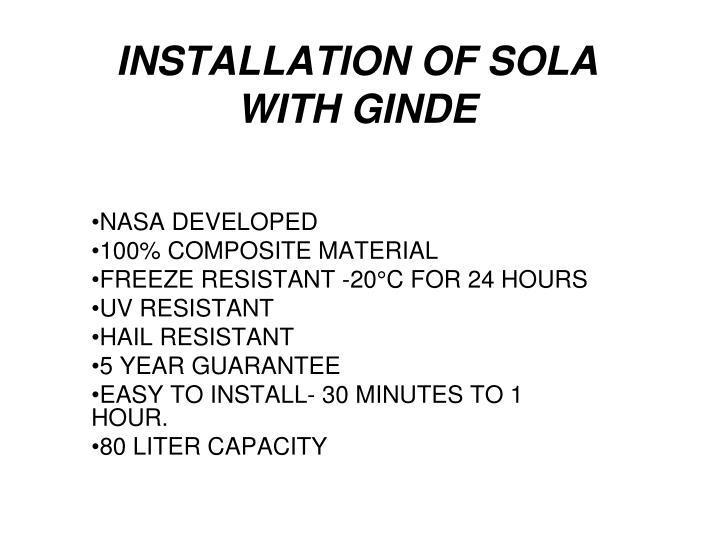 INSTALLATION OF SOLA