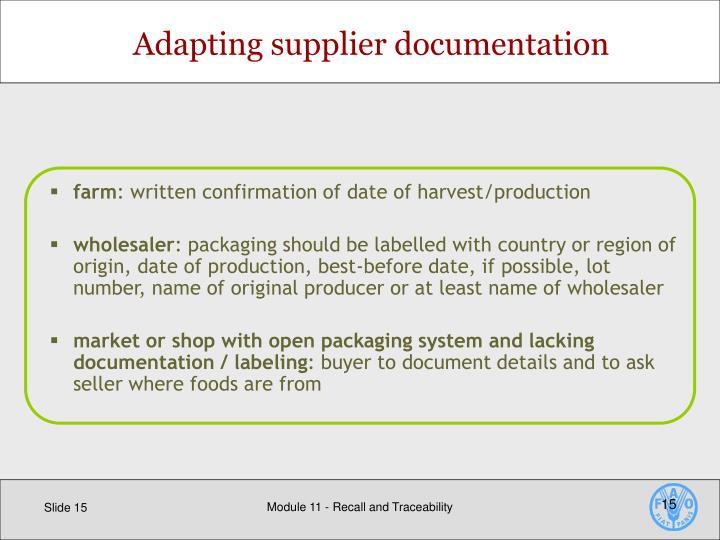 Adapting supplier documentation