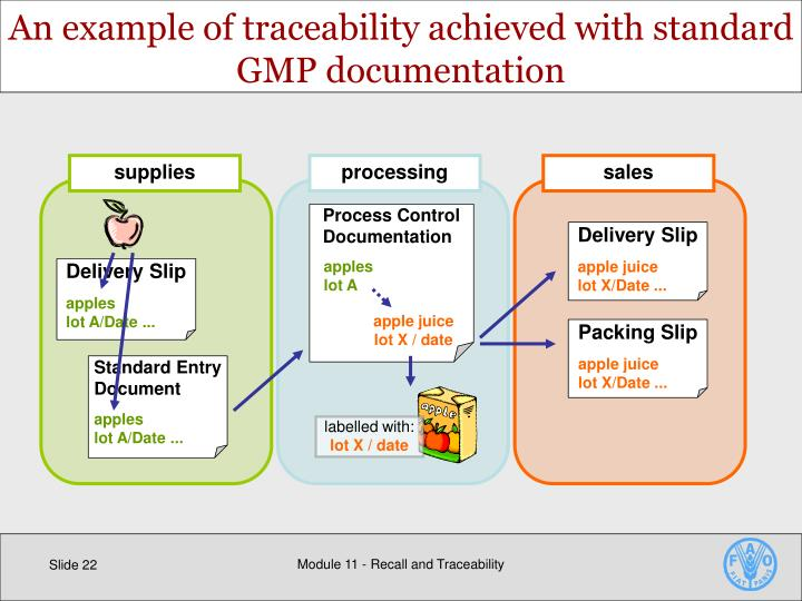 An example of traceability achieved with standard GMP documentation