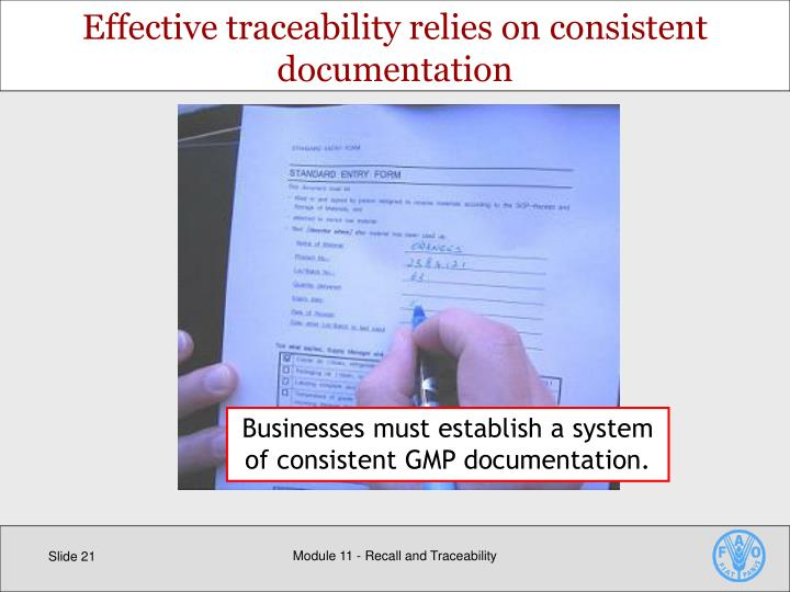 Effective traceability relies on consistent documentation