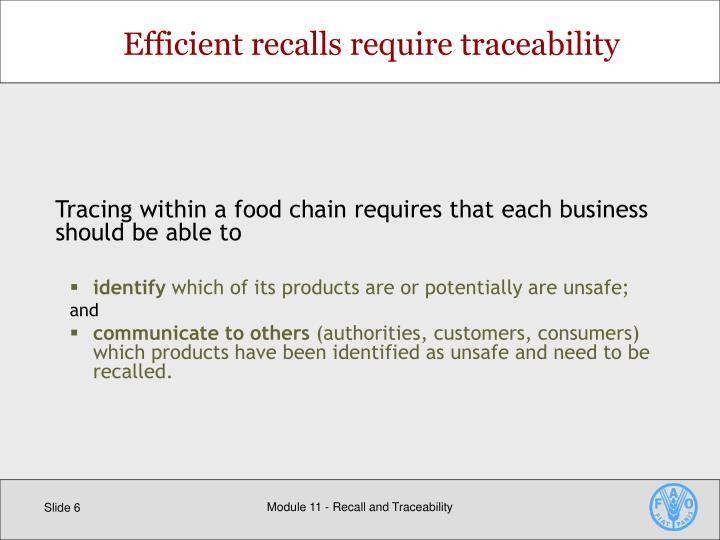 Efficient recalls require traceability