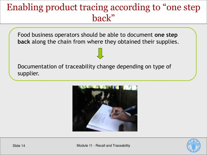 Food business operators should be able to document