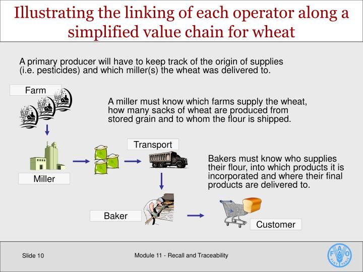 Illustrating the linking of each operator along a simplified value chain for wheat