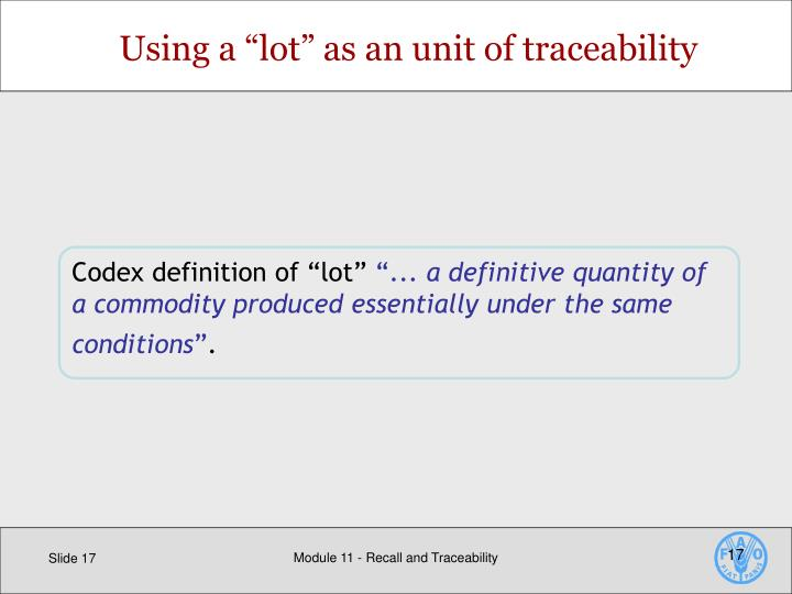 """Using a """"lot"""" as an unit of traceability"""