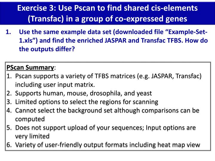 Exercise 3: Use Pscan to find shared cis-elements (Transfac) in a group of co-expressed genes