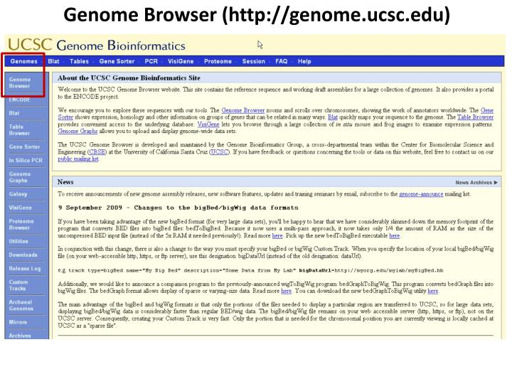 Genome Browser (http://genome.ucsc.edu)