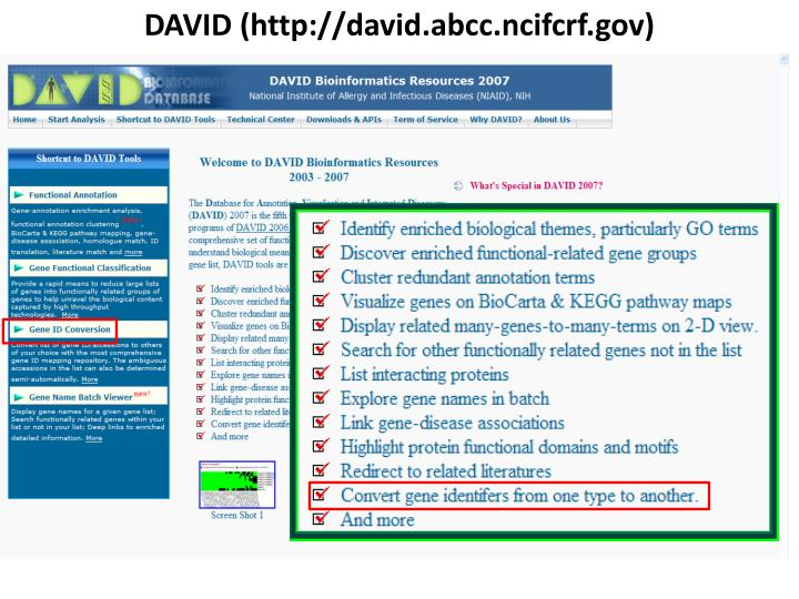 DAVID (http://david.abcc.ncifcrf.gov)