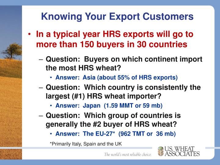 Knowing Your Export Customers