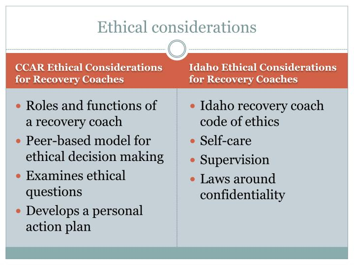 Idaho Ethical Considerations for Recovery Coaches