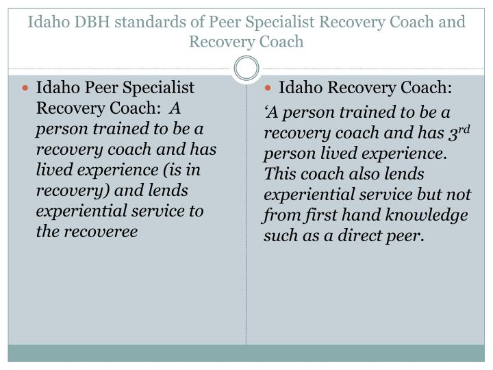 Idaho DBH standards of Peer Specialist Recovery Coach and Recovery Coach