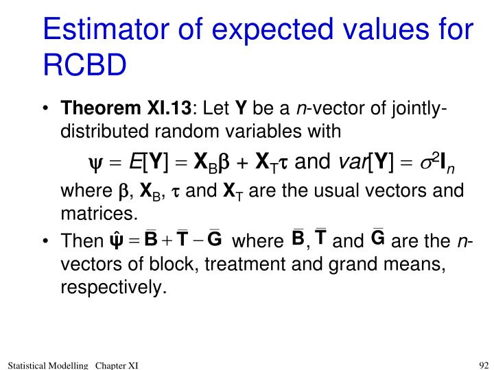 Estimator of expected values for RCBD