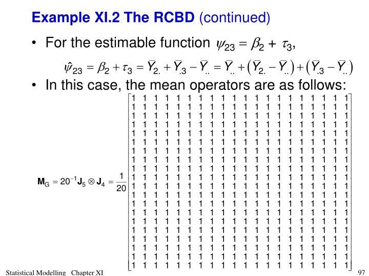 Example XI.2 The RCBD