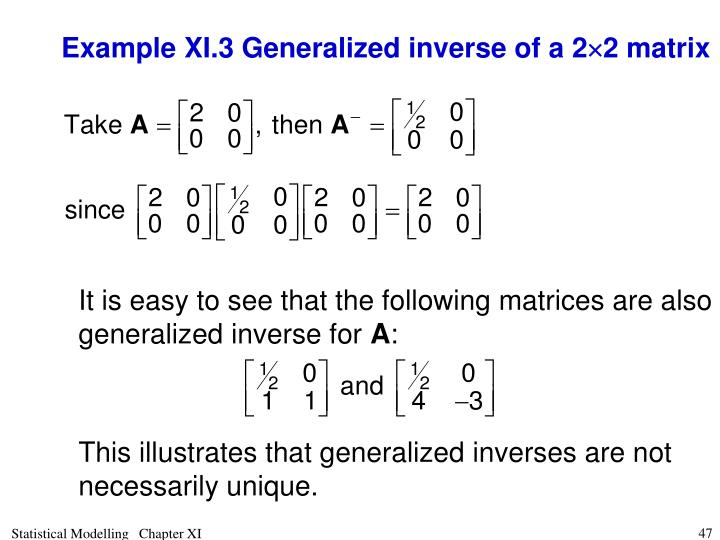 Example XI.3 Generalized inverse of a 2