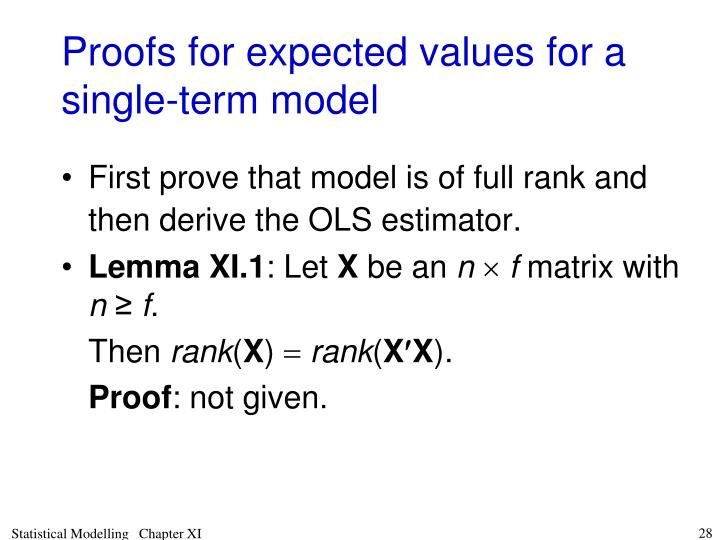 Proofs for expected values for a single-term model