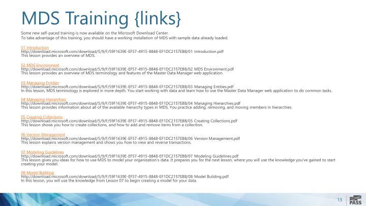 MDS Training {links}