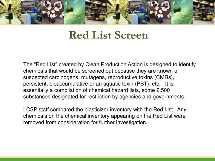Red List Screen