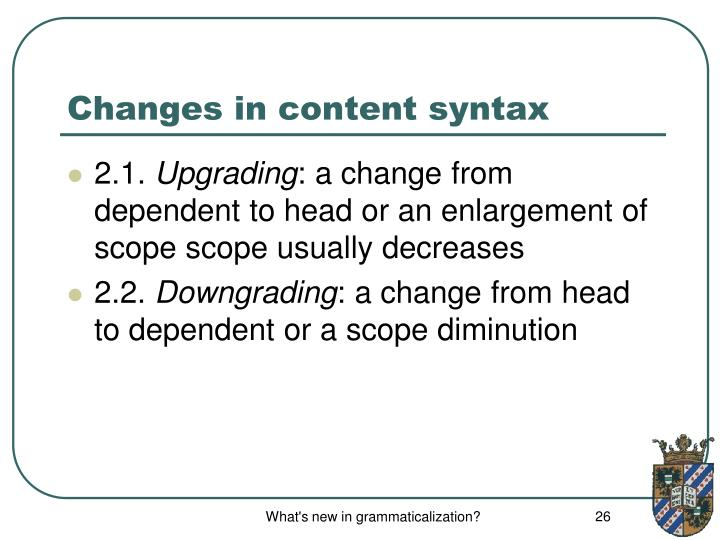 Changes in content syntax