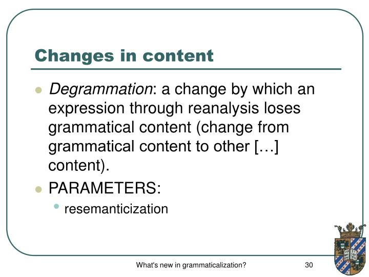 Changes in content