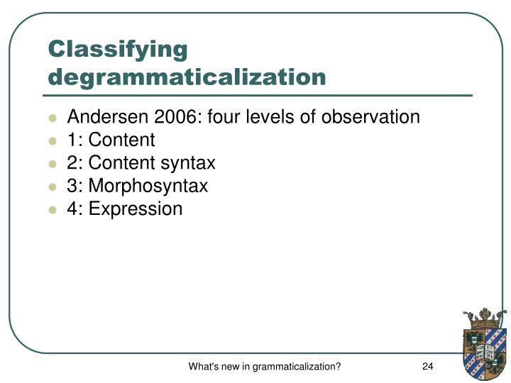 Classifying degrammaticalization
