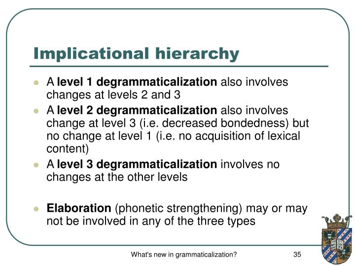 Implicational hierarchy