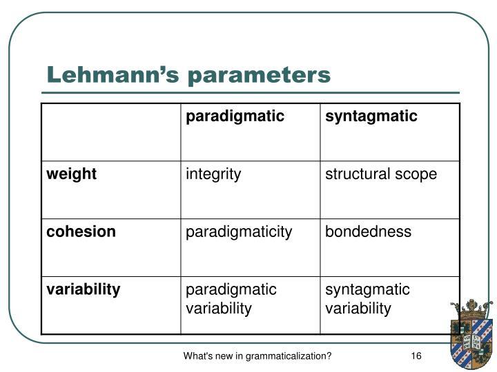 Lehmann's parameters