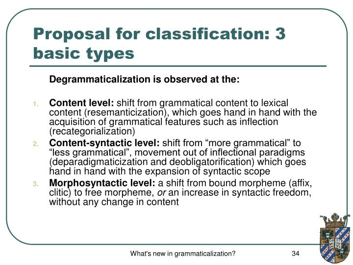 Proposal for classification: 3 basic types