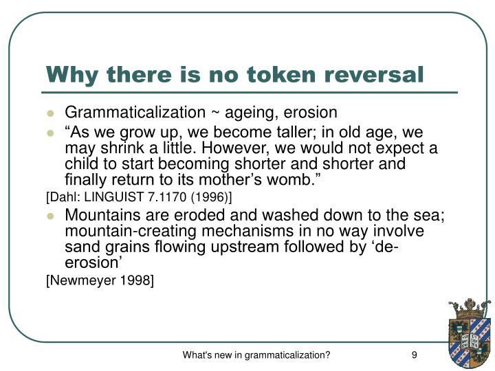 Why there is no token reversal