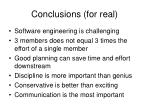 conclusions for real