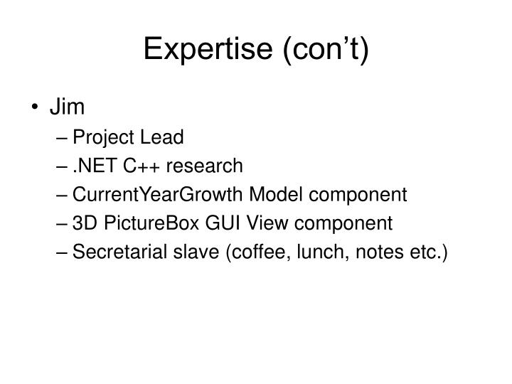 Expertise (con't)