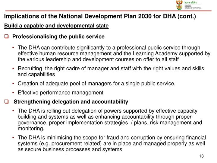 Implications of the National Development Plan 2030 for DHA (cont.)