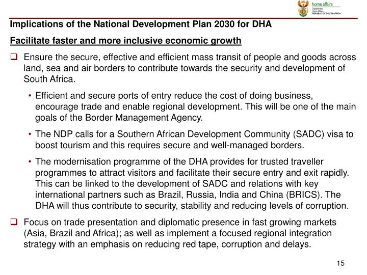 Implications of the National Development Plan 2030 for DHA