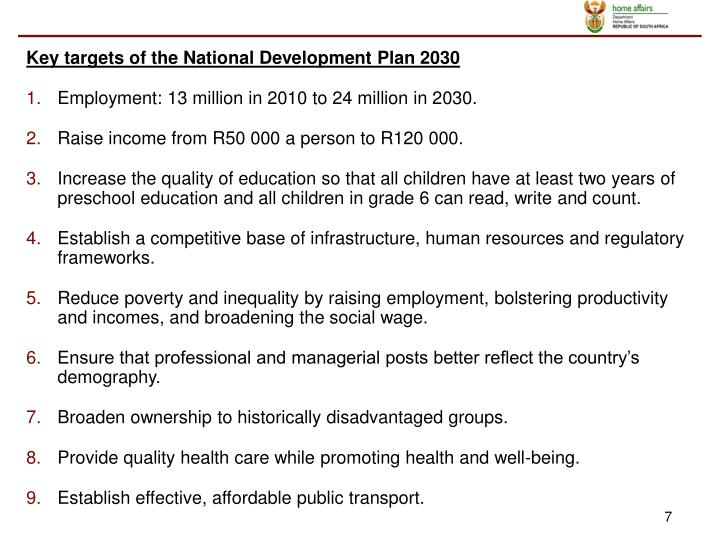 Key targets of the National Development Plan 2030
