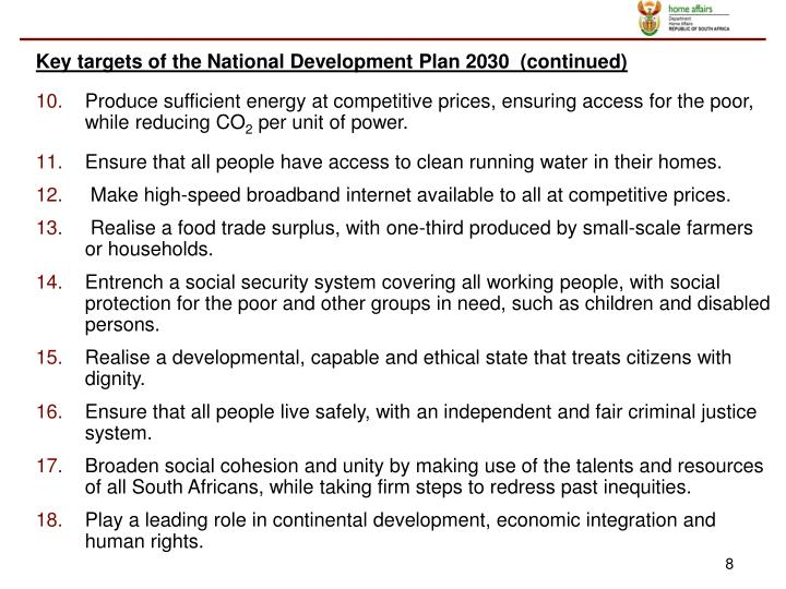Key targets of the National Development Plan 2030  (continued)