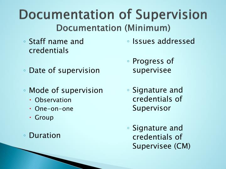 Documentation of Supervision