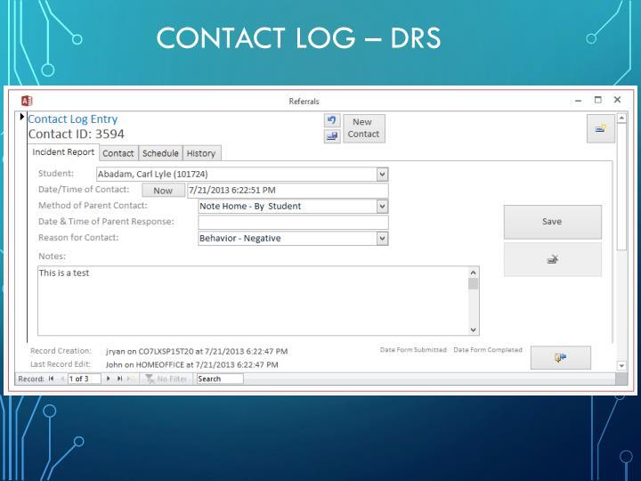 Contact Log – DRS