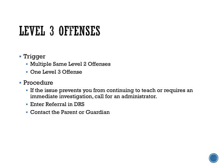 Level 3 Offenses