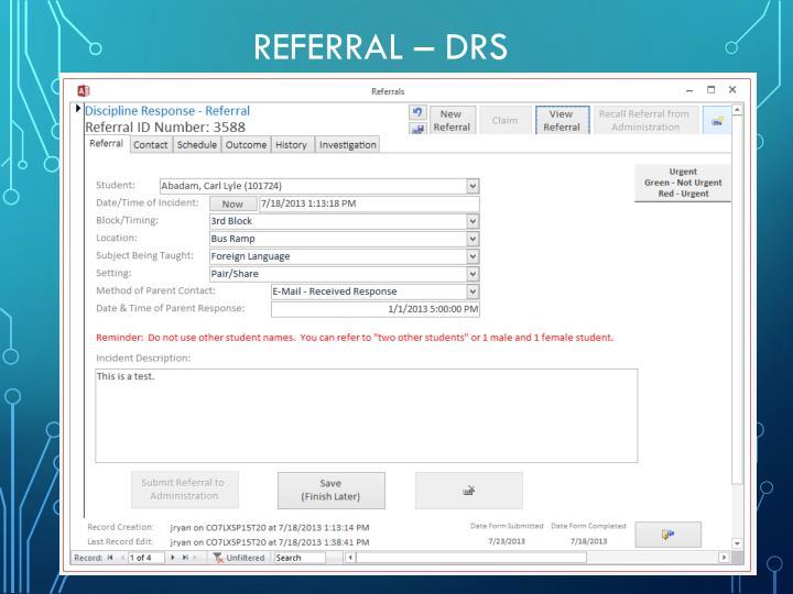 Referral – DRS