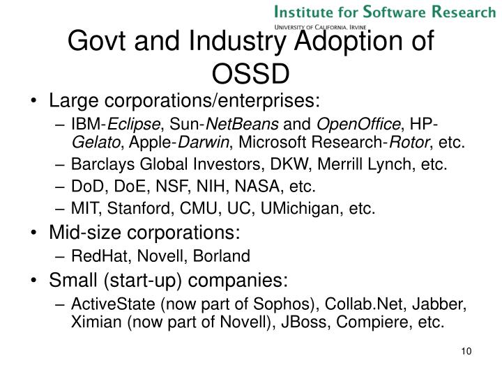 Govt and Industry Adoption of OSSD