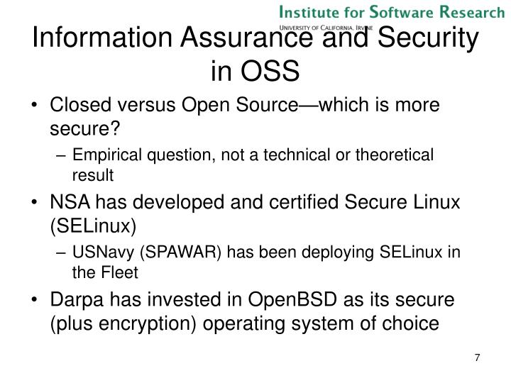 Information Assurance and Security in OSS