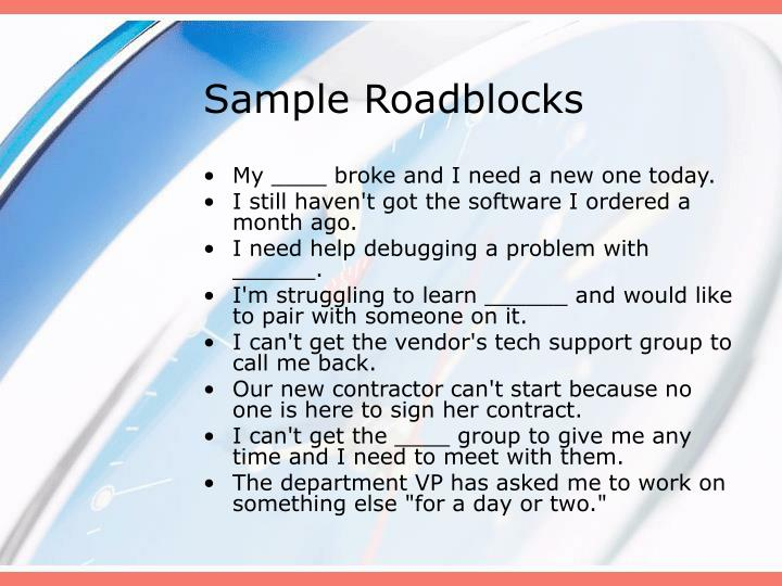Sample Roadblocks