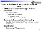 clinical research accomplishments fy09